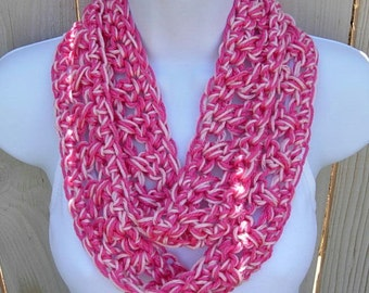 Skinny SUMMER SCARF Infinity Loop Hot & Light Pink, Extra Soft Small Lightweight Cowl Circle, Crocheted Necklace, Ready to Ship in 2 Days