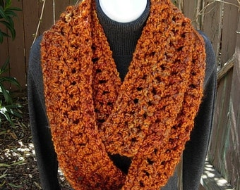 Ready to Ship COWL SCARF Infinity Loop Rust, Brown, Gold, Burnt Orange Extra Soft Warm Bulky Thick Winter Crochet Knit Circle, Women's Scarf