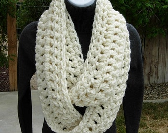 INFINITY SCARF Loop Cowl Winter White, Ivory, Light Cream Crochet Knit Extra Soft, Bulky Chunky, Long Narrow Thick..Ready to Ship in 2 Days