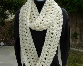 INFINITY SCARF Loop Cowl Winter White, Ivory, Light Cream Crochet Knit Extra Thick Soft 100% Acrylic, Neck Warmer..Ready to Ship in 2 Days