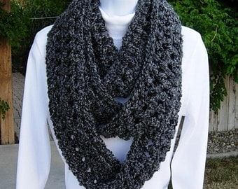 Extra Long INFINITY SCARF Loop Cowl Winter Skinny, Black Dark Gray Grey Charcoal, Soft Bulky Circle, Neck Warmer..Ready to Ship in 2 Days