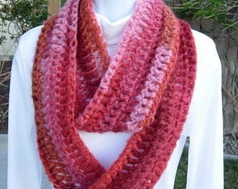 INFINITY SCARF Lightweight Winter Loop Cowl, Raspberry, Wine Red, Pink, Orange Striped, Soft Crochet Knit, Small..Ready to Ship in 5 Days