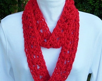 SUMMER INFINITY SCARF Bright Lipstick Solid Red,  Extra Soft Lightweight Small Cowl Skinny Loop, Crochet Necklace..Ready to Ship in 2 Days
