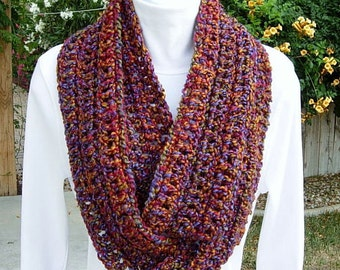INFINITY SCARF Loop Cowl Purple Red Copper Orange Gold Olive Green Multicolor Crochet Knit Winter Eternity Circle..Ready to Ship in 2 Days