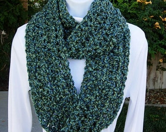 COWL SCARF Infinity Loop Blue & Green, Extra Soft, Bulky Crochet Knit Winter Eternity Circle Wrap, Neck Warmer..Ready to Ship in 2 Days