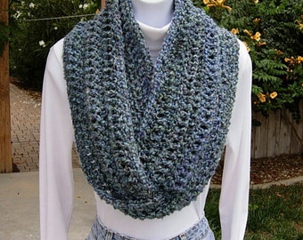 INFINITY SCARF Loop Cowl Blue, Light Purple, Teal Green, Gray Grey, Extra Soft Crochet Knit Winter Endless Circle..Ready to Ship in 3 Days