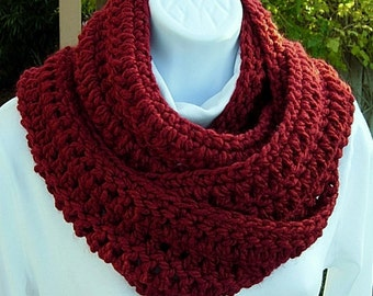 COWL SCARF Winter Infinity Loop Dark Solid Red, Color Choice, Extra Long Soft Bulky Warm Winter Crochet Knit Circle..Ready to Ship in 2 Days