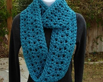 Infinity Loop Scarf, Turquoise Teal Solid Blue, COLOR CHOICES, Extra Soft Crochet Knit Winter Eternity Circle Cowl..Ready to Ship in 2 Days