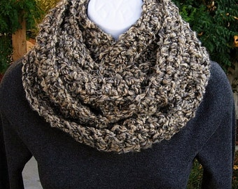 COWL SCARF Infinity Loop, Tan Beige Black Grey Gray Multicolor, Soft Bulky Crochet Winter Circle Wrap, Neck Warmer...Ready to Ship in 2 Days