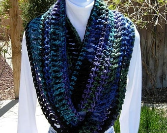 INFINITY SCARF Loop Cowl, Black Turquoise Dark Blue Green Purple, Long Soft Bulky Crochet Knit Winter Circle Wrap..Ready to Ship in 3 Days