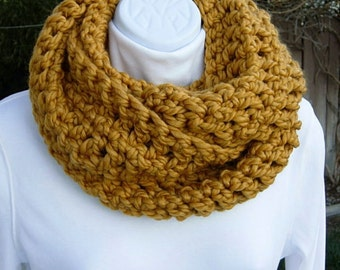 INFINITY COWL SCARF Mustard, Gold, Dark Yellow Soft Bulky Thick Wool Acrylic Blend Winter Circle Loop, Neck Warmer..Ready to Ship in 2 Days
