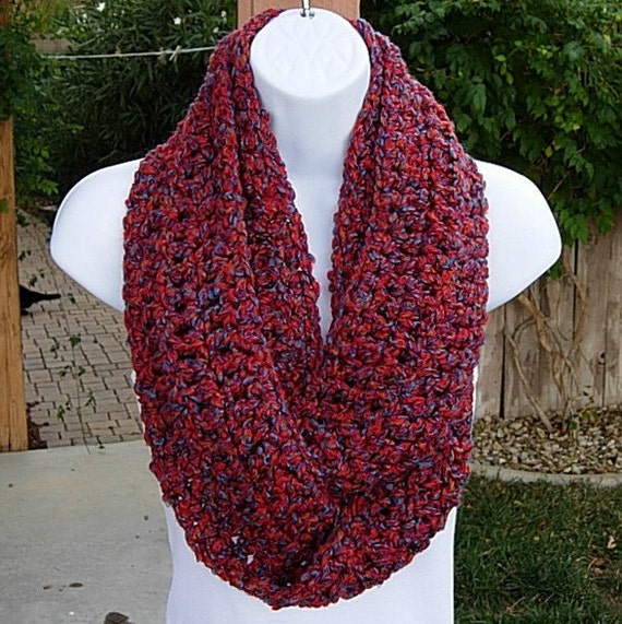 INFINITY LOOP SCARF..Red Blue Purple Rust Multicolor..Super Soft, Bulky Winter Circle Loop Eternity Crochet Cowl..Ready to Ship in 2 Days