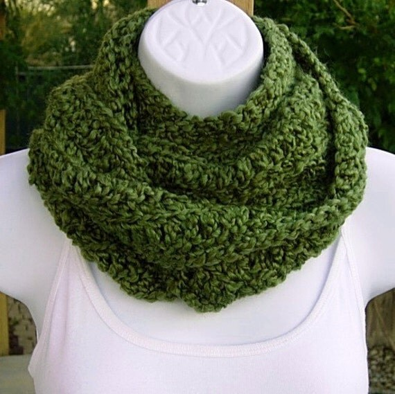 INFINITY COWL SCARF..Olive Solid Green..Super-Soft..Warm..Cozy..Silky..Crochet Knit Winter Eternity Endless Loop..Ready To Ship In 2 Days