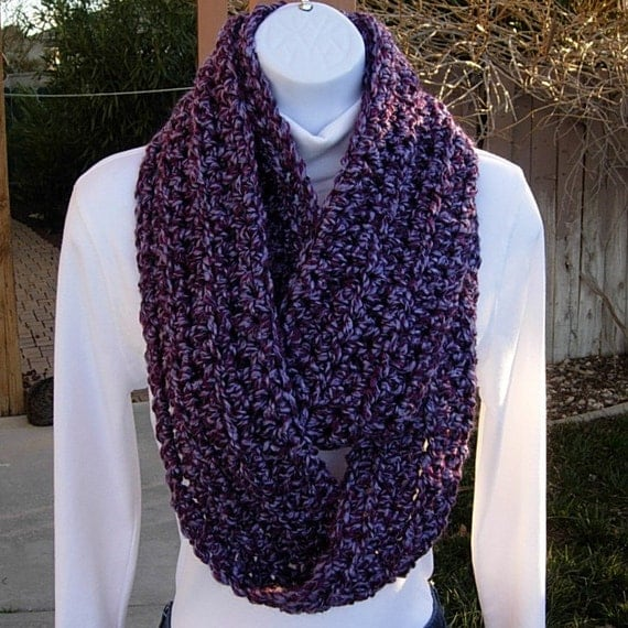 INFINITY LOOP SCARF Light & Dark Purple..Super-Soft..Bulky..Winter Eternity Crochet  Knit Circle Cowl, Neck Warmer..Ready to Ship in 10 Days