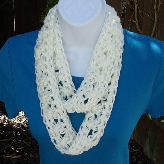 Skinny INFINITY LOOP SCARF..Solid Off-White Ivory..Super Soft..Lightweight, Small Cowl..Crocheted Necklace..Ready to Ship in 2 Days