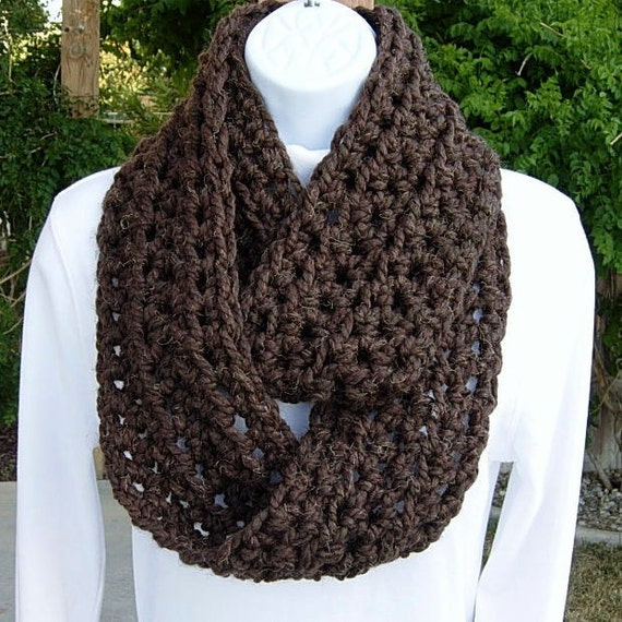 INFINITY LOOP SCARF Dark Brown with Tan..Bulky, Soft Lamb's Wool/Acrylic Blend..Winter Circle Cowl, Neck Warmer..Ready to Ship in 10 Days