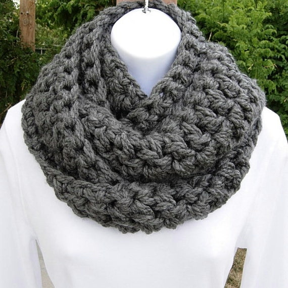 INFINITY SCARF..Super-Soft, Thick..Charcoal Gray/Grey..Crochet..All-In-One Bulky Scarf, Cowl, Neck Warmer..Ready to Ship in 5 to 7 Days