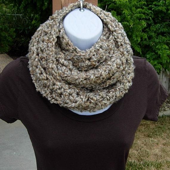 INFINITY LOOP SCARF..Off-White, Tan, Beige, Gray/Grey..Super-Soft Acrylic..Winter Eternity Crochet Knit Cowl..Neck Warmer..Ready to Ship