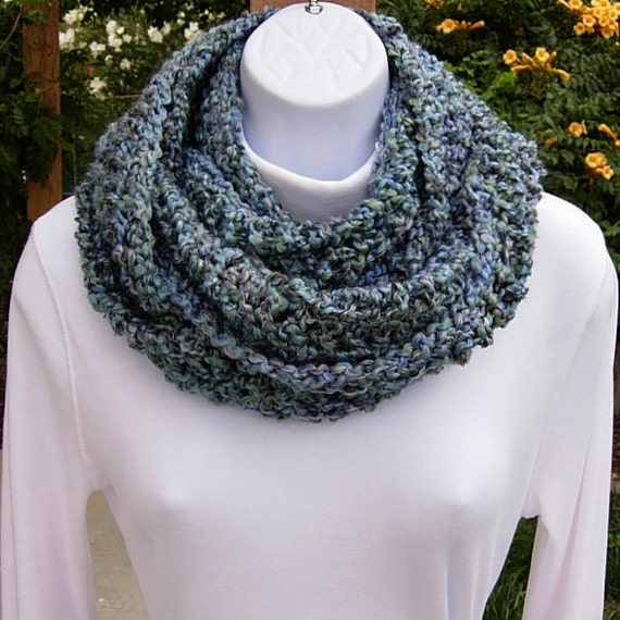INFINITY COWL SCARF..Blue, Lavender, Teal Green, Gray..Super-Soft & Silky..Winter Eternity Loop Circle, Neck Warmer..Ready to Ship in 2 Days