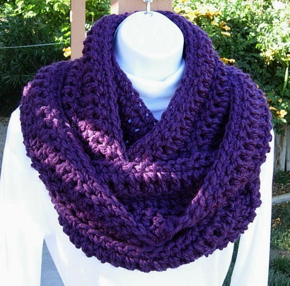 INFINITY COWL SCARF..Solid Dark Purple..Super-Soft..Warm..Long Bulky Loop Eternity Winter, Neck Warmer..Ready to Ship in 2 Days
