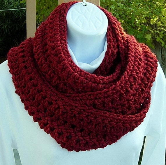 INFINITY LOOP SCARF..Dark Solid Red..Super-Soft..Bulky..Warm..Cozy..Long..Winter Eternity Circle Cowl, Neck Warmer..Ready to Ship in 3 Days