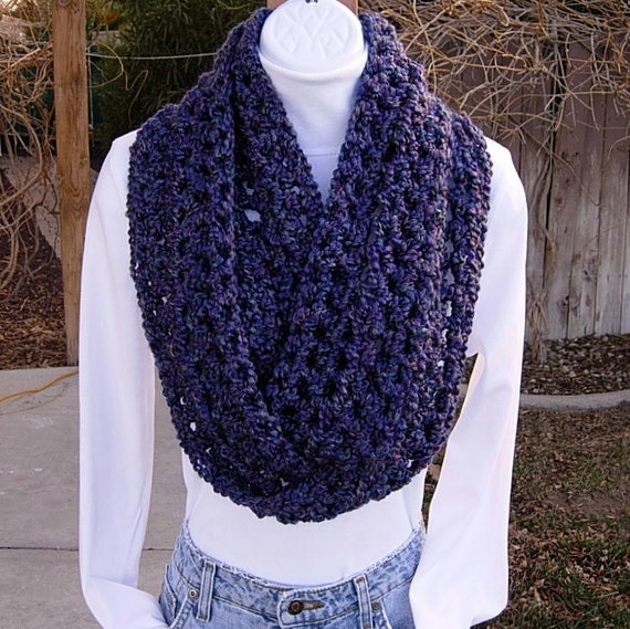 INFINITY LOOP SCARF..Purple, Violet, Teal, Gray..Double Thickness..Super-Soft..Silky..Long Skinny Winter Cowl..Ready to Ship in 1 to 3 Days
