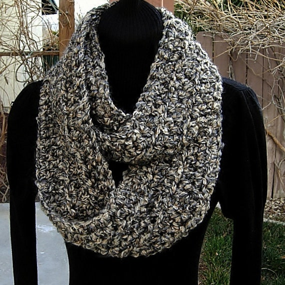 INFINITY LOOP SCARF..Multi-Colored Tan Black Grey..Super-Soft & Warm Winter Crochet Scarf..Cowl..Neck Warmer..Ready to Ship in 1 to 3 Days