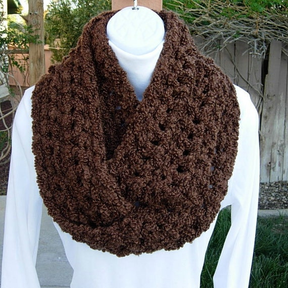 INFINITY LOOP SCARF..Solid Cocoa Brown..Double Thickness..Super-Soft Boucle'..Winter Eternity Cowl, Neck Warmer..Ready to Ship in 2 Days