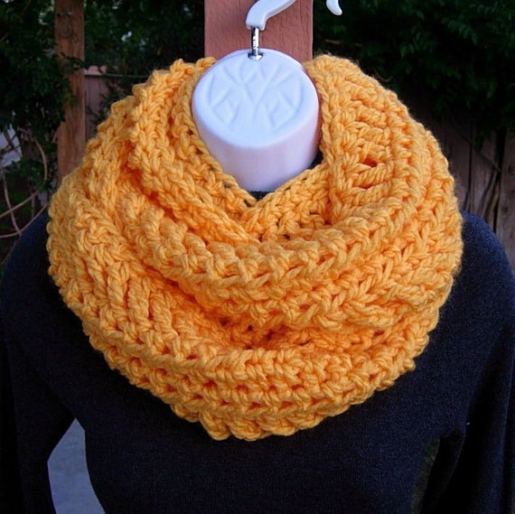 INFINITY SCARF Cowl Loop Solid Orange Yellow Extra Soft Warm Bulky Crochet Knit Winter Eternity Circle 100% Acrylic..Ready to Ship in 5 Days