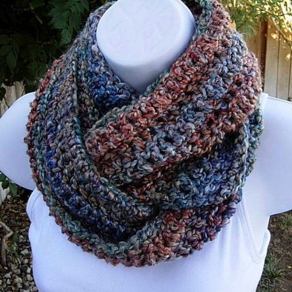 INFINITY COWL SCARF..Blue Gold Red Teal Rust Striped..Super-Soft Silky..Lightweight Winter Eternity Circle Loop..Ready to Ship in 7 Days
