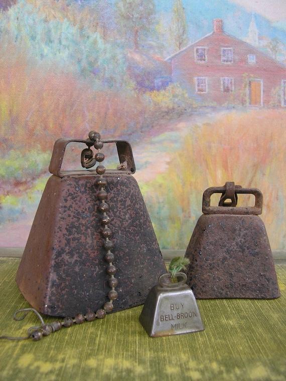3 Vintage Cow Bells
