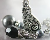 Silver Cat Necklace Sterling Silver Black Swarovski Crystal Gray Pearl Cat Pendant Necklace  Chain Charm Necklace