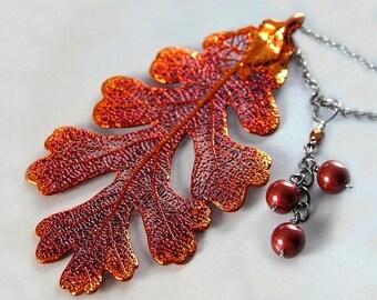 Genuine Oak Leaf Necklace Oxidized Sterling Silver Iridescent Copper Oak Leaf Pendant Necklace Real Leaf Botanical Nature Autumn Necklace