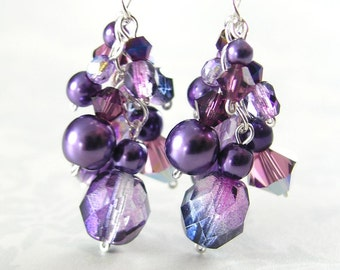 Amethyst Purple Earrings Sterling Silver Plum Eggplant Lavender Violet Crystal Dangle Drop Earrings