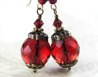 Garnet Red Earrings 14K Gold Fill Scarlet Red Dangle Earrings Deep red Drop Earrings January Birthstone