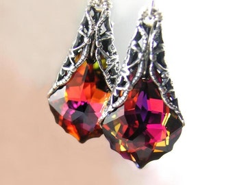 Red Purple Earrings Sterling Silver RARE Swarovski Purple Red Crystal Dangle Earrings Victorian Earrings