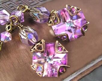Pink Purple Earrings, Vintage Style Swarovski Crystal Earrings, Violet Lilac Amethyst Earrings, Victorian Pink Dangle Drop Earrings