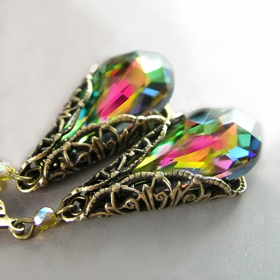 Pink Green Earrings Antique Gold Filigree Swarovski Vitrail Medium Crystal Dangle Drop Earrings