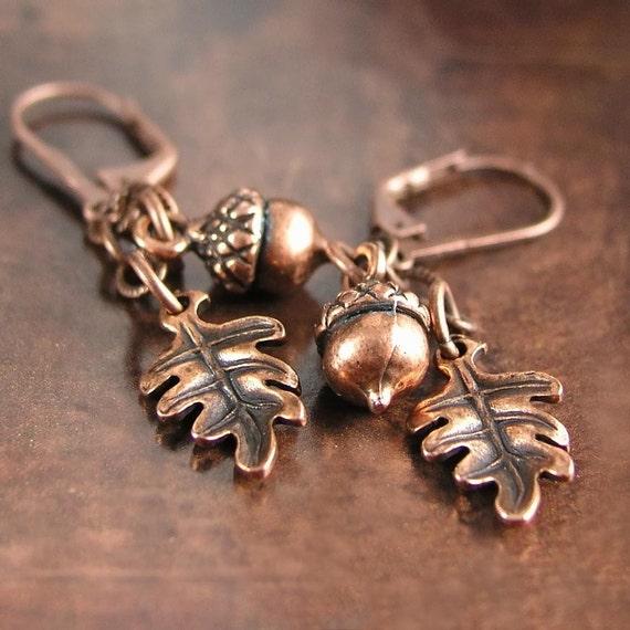 Copper Acorn Earrings Antique Copper Oak Leaf Earrings Autumn Acorn Dangle Drop Earrings Fall Fashion Rustic Copper Earrings Acorn Jewelry
