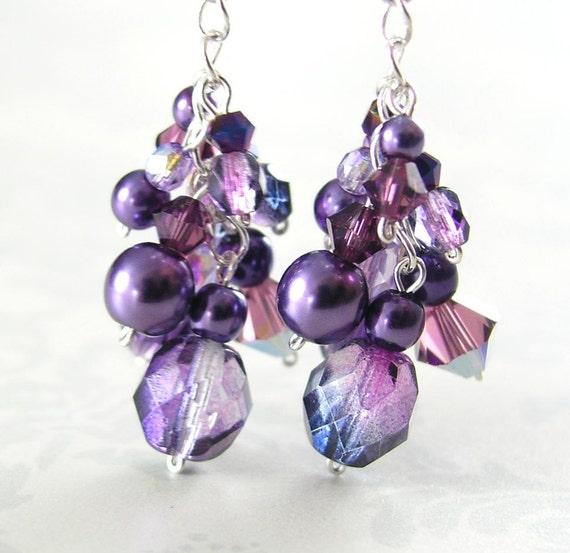 Amethyst Purple Earrings Sterling Silver Plum Eggplant Lavender Violet Crystal Dangle Drop Earrings