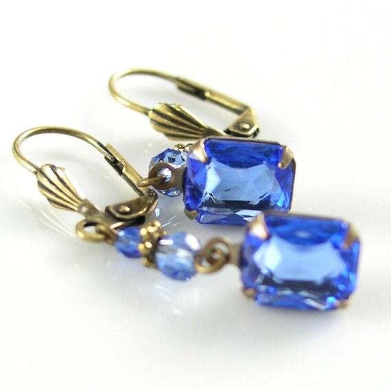 Sapphire Blue Earrings Vintage Blue Glass Earrings Estate Style Earrings Antiqued Brass Earrings Sea Shell Lever Backs