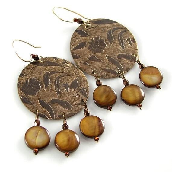 Golden Brown Mother of Pearl Earrings Natural Vintaj Brass Chandelier Earrings Floral Bronze Circle Earrings