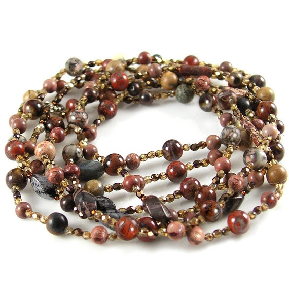 Earth Tones Gemstone Boho Necklace Natural Stone Necklace Red Brown Jasper Bohemian Necklace Long Necklace