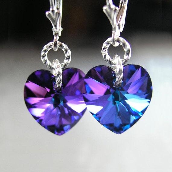 Purple Heart Earrings Sterling Silver Earrings Swarovski