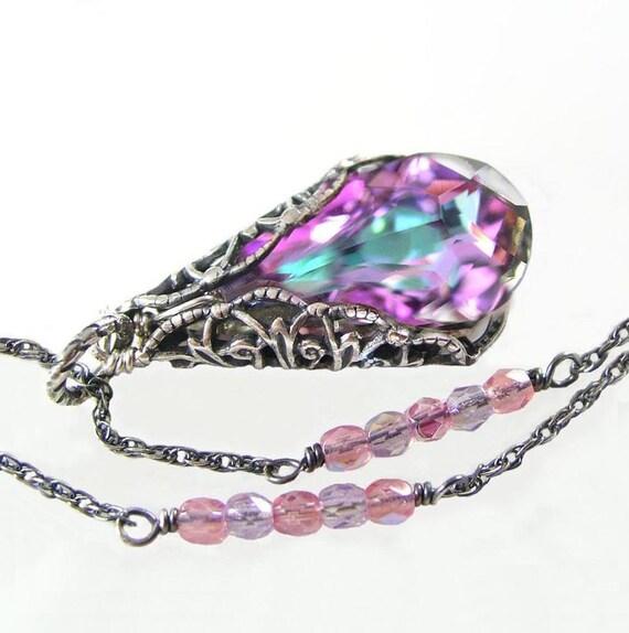 Purple Pink Necklace Antique Sterling Silver Chain Necklace Swarovski Pink Crystal Necklace Lilac Lavender Pink Pendant Necklace