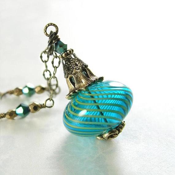 Blue Necklace Hand Blown Teal Aqua Blue Glass Pendant Necklace Antique Gold Necklace Vintage Blue