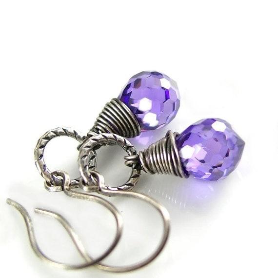 Purple Earrings Antiqued Sterling Silver Cubic Zirconia Violet Earring Amethyst Earrings  Wire Wrapped Earrings