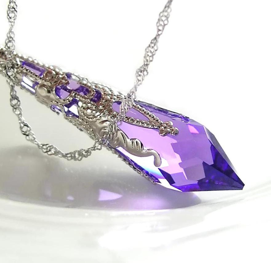 purple necklace sterling silver chain by dorotajewelry