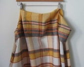 """Vintage Tablecloth Linen Fabric, Orange, Golden Yellow, Black and White Plaid - 48"""" x 51"""""""