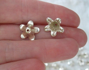 60 Pieces Silver Washed 13mm Azalea Flower Bead Cap Beads by The Beadery, Made in USA, Jewelry Making Supplies, Findings